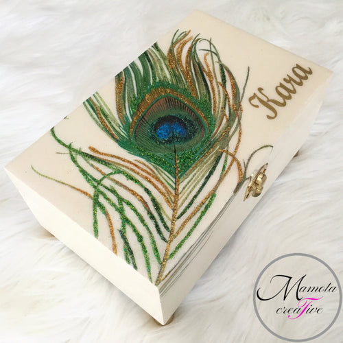 Personalized Peacock Feather Jewelry Box fully customizable - Mamota Creative