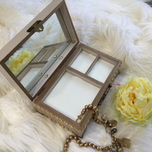 Load image into Gallery viewer, MIXED MEDIA ART JEWELRY BOX WITH MIRROR AND COMPARTMENT - TAN