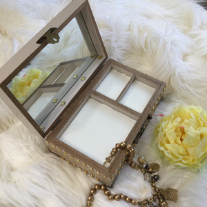 MIXED MEDIA ART JEWELRY BOX WITH MIRROR AND COMPARTMENT - TAN