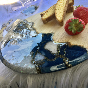 Resin Art with Abstract Design 12 inch Round Serving Board with Matching Wooden Spoons - Blue and Cream