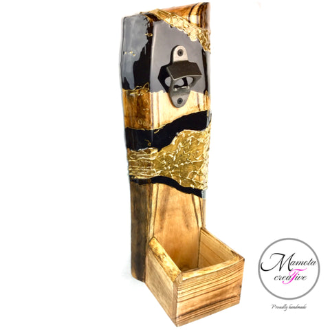 Wooden Bottle Opener with Cap Catch in Black and Gold Abstract Design - Mamota Creative