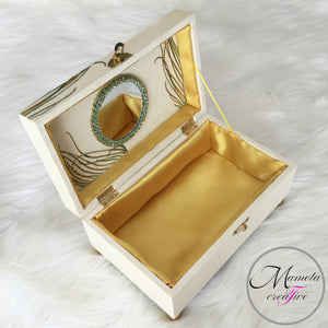 peacock jewelry box with lined interior and mirror -  Mamota Creative