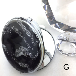 Black and silver abstract design with resin art compact mirror - Mamota Creative