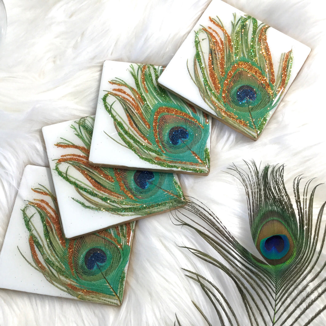 PEACOCK FEATHER SET OF COASTERS