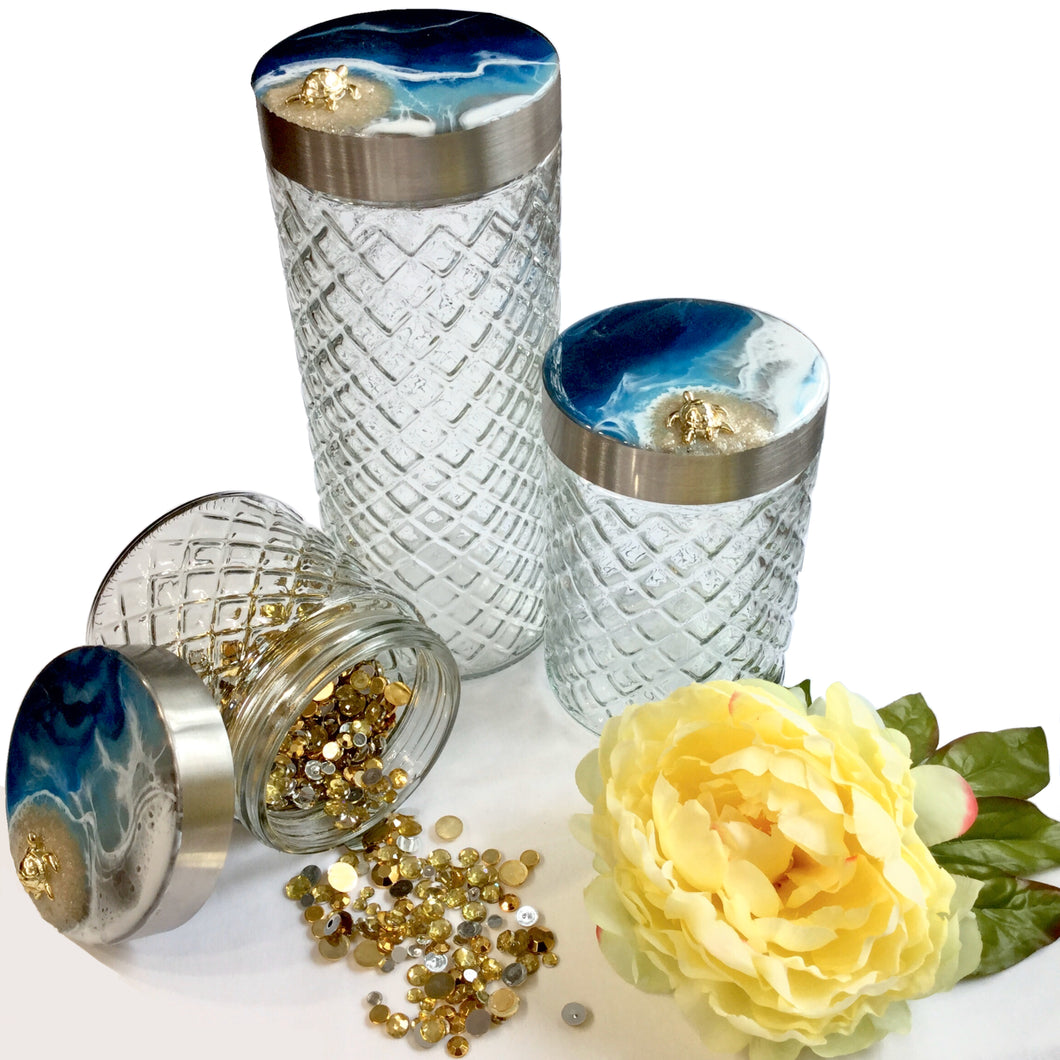 Diamond Glass Canister Set in Deep Blue Ocean with Gold Turtle Theme