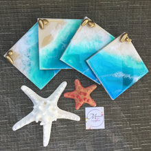 Load image into Gallery viewer, HAWAIIAN BEACH THEME RESIN ART COASTERS WITH GOLD SEASHELL ACCENTS - SET OF 4