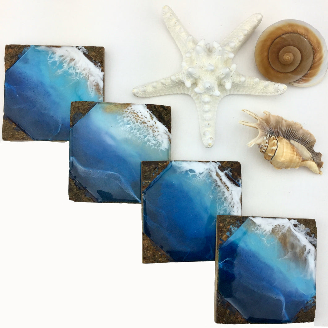 Deep Blue Ocean Coaster Set