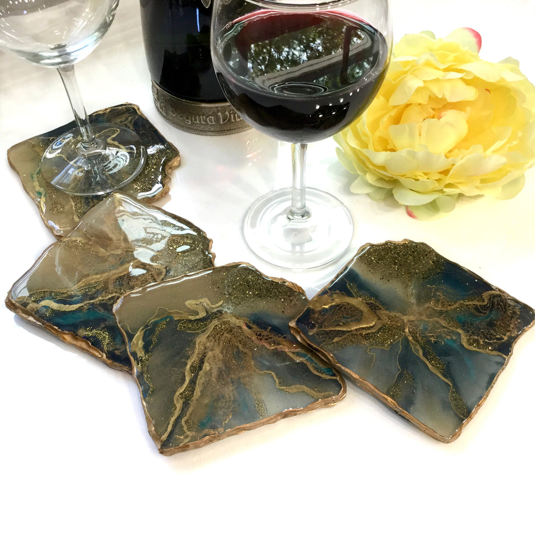 BLUE RHOMBUS RESIN GEODE SET OF COASTERS - LARGE