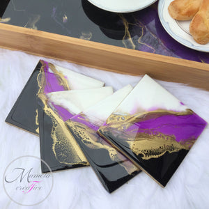 Resin Bamboo Decorative Seriving Tray with Coasters Set in Purple-Black and White - Mamota Creative