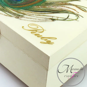 Personalized Peacock Feather Jewelry Box - Mamota Creative