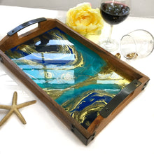Load image into Gallery viewer, Geode Serving Tray in Turquoise and Godl Resin Art - Starry Night