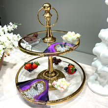 Load image into Gallery viewer, Large Two Tier Glass Stand with Resin Art