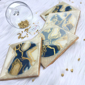 Resin Art with Abstract Design Coasters - Blue and Cream - Set of 4 - Mamota Creative