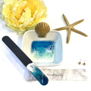 Manicure bowl and nail file set ring dish with ocean theme resin art - Mamota Creative