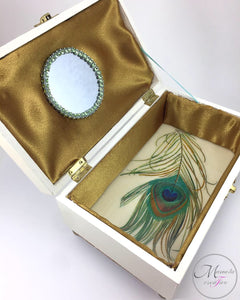 Interior of a peacock feather Jewelry Box with mirror and lined and resined - Mamota Creative