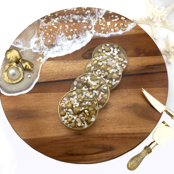 Lazy Suzan with Gold Shells and Clear Water Effect With matching Clear Coasters embellished with gold and broken seashells Set - Mamota Creative