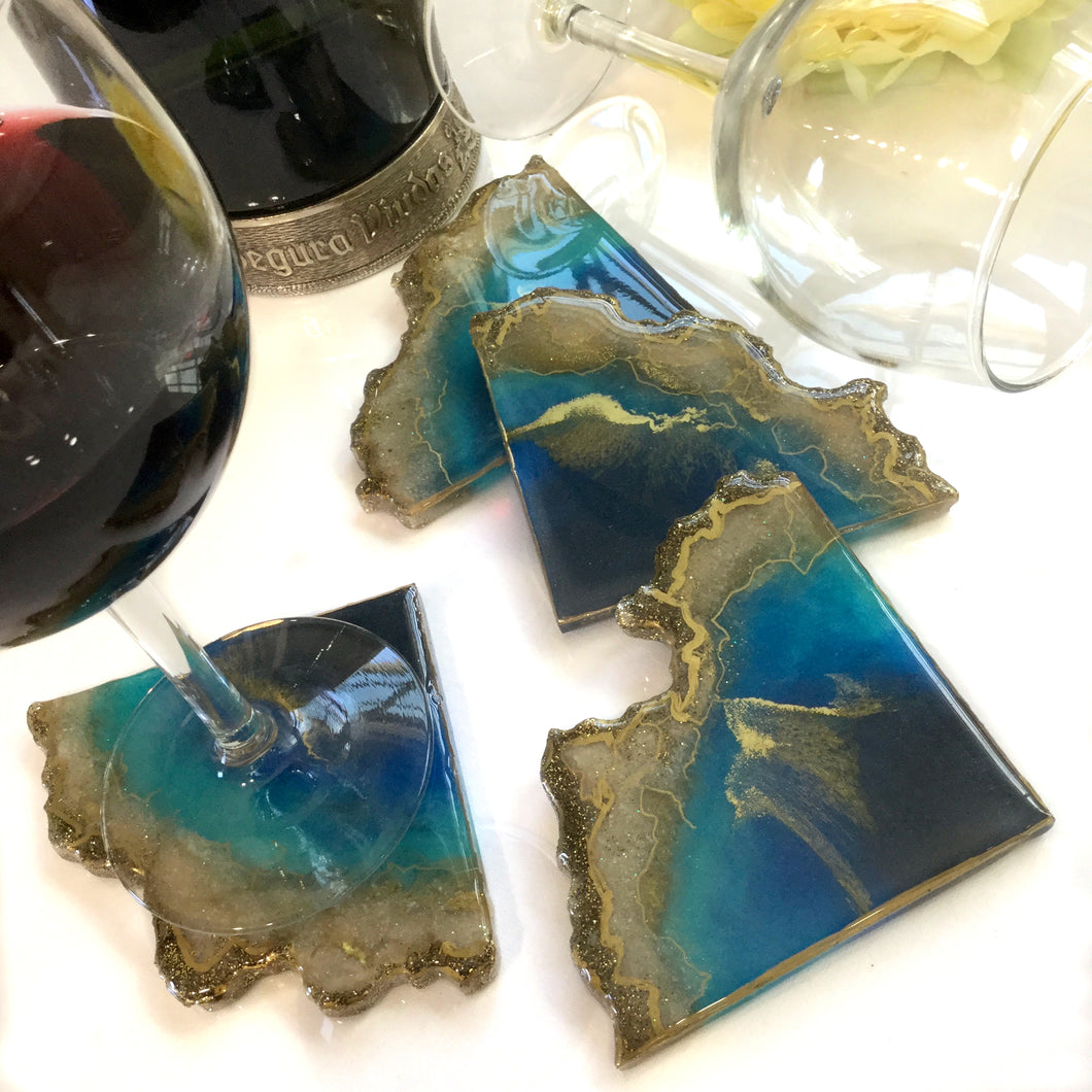 GEODE COASTERS IN TURQUOISE AND GOLD WAVES RESIN ART