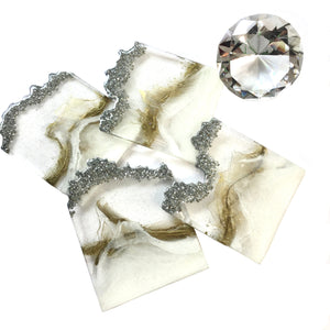 Resin geode coasters in white, clear, gold and silver crystals set of 4 - Mamota Creative