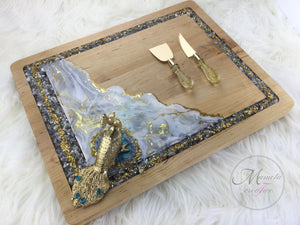 Resin Art with Glass Wooden Serving Board - Peacock - Mamota Creative