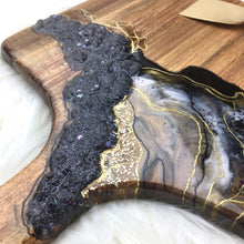 Load image into Gallery viewer, BLACK LAVA GEODE SERVING BOARD