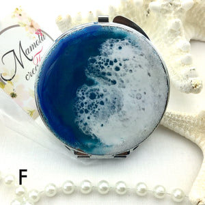 Deep blue ocean resin art  compact mirror - Mamota Creative