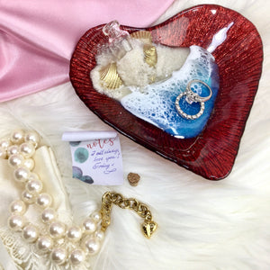 Heart Shaped Message in a Bottle Red Ring Dish with Beach Theme with Carolee pearl necklace - Mamota Creative