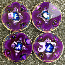 Load image into Gallery viewer, VIOLET WITH BLUE ALCOHOL INK COASTERS