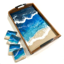 Load image into Gallery viewer, Deep Blue Oean Theme Resin Art Tray with Coordinating Accessories