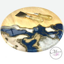 Load image into Gallery viewer, Resin Art with Abstract Design 12 inch Round Serving Board with Matching Wooden Spoons - Blue and Cream