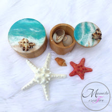 Load image into Gallery viewer, Resin beach art on bamboo canisters - Set of 2 - Mamota Creative
