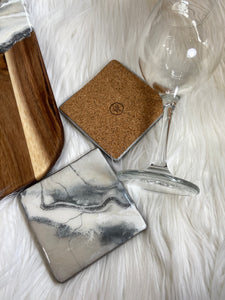 Marble Geode Serving Board and Coaster Set