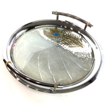 Load image into Gallery viewer, PEACOCK FEATHER SILVER ROUND TRAY WITH RESIN ART AND AUSTRIAN CRYSTALS