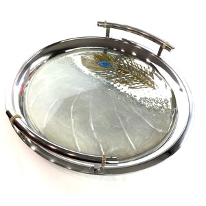 PEACOCK FEATHER SILVER ROUND TRAY WITH RESIN ART AND AUSTRIAN CRYSTALS