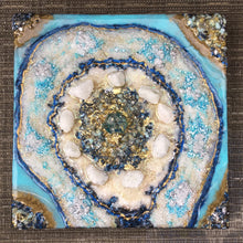 Load image into Gallery viewer, Light blue textured mini resin geode wall art - Mamota Creative