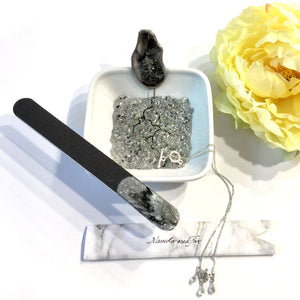 MANICURE BOWL AND NAIL FILE SET RING DISH WITH RESIN ART - ASSORTED COLORS
