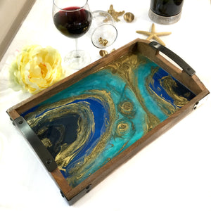 Geode Serving Tray in Turquoise and Godl Resin Art - Starry Night