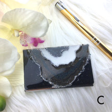 Load image into Gallery viewer, Black Brown and white resin geode business card case with silver accents - Mamota Creative
