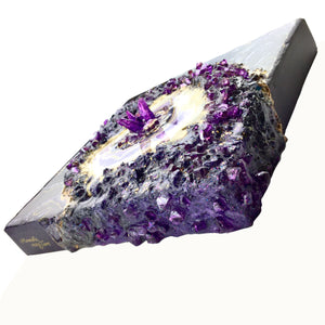 Mini 3D Black and Purple Plum Geode Wall Art with white and gold accents - Mamota Creative