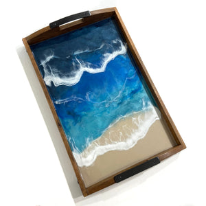 Deep Blue Oean Theme Resin Art Tray with Coordinating Accessories