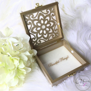 SMALL LASER CUT FLOWER JEWELRY BOX WITH PEARL EMBELLISHMENTS