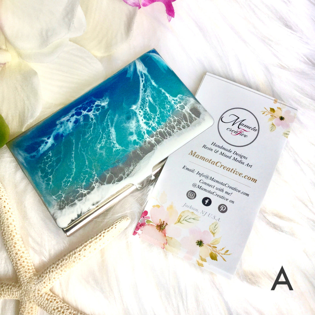 Ocean theme with resin art business card case - Mamota Creative