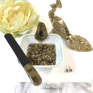 Gold geode resin art manicure bowl and nail file set ring dish - Mamota Creative