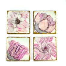 Load image into Gallery viewer, ALCOHOL INK FLOWERS IN RESIN ART COASTERS