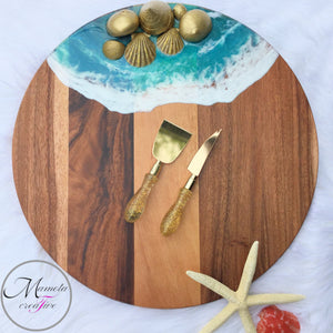 Resin Ocean with Gold Shells on Acacia Wood Lazy Susan - 18 in. Diameter - Mamota Creative