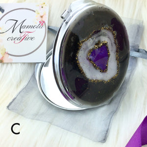 Brown purple and white geode resin art compact mirror - Mamota Creative