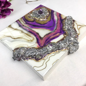 White and Purple Geode Mini with gold and silver accents  8 in x 8 in  - Mamota Creative