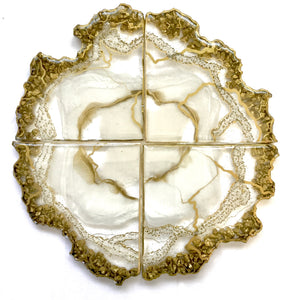 White Pearl Geode Coasters with Gold Stones