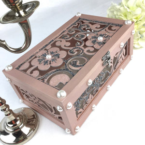 LASER CUT WOOD FLOWER DECORATIVE BOX IN METALLIC PINK