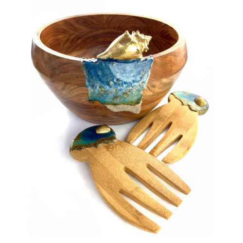Wooden salad bowl set with resin art, shells and sand