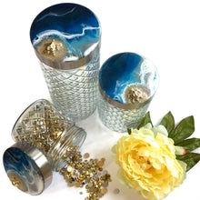 Load image into Gallery viewer, Diamond Glass Canister Set in Deep Blue Ocean with Gold Turtle Theme